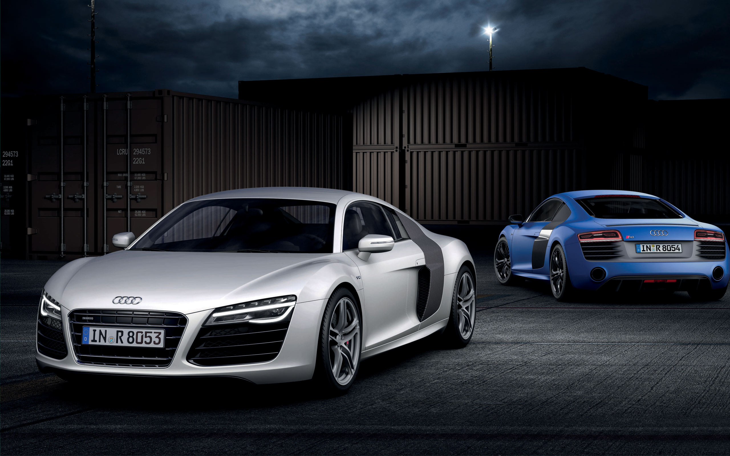 Blue and Silver Audi R8 2013 HD Wallpaper