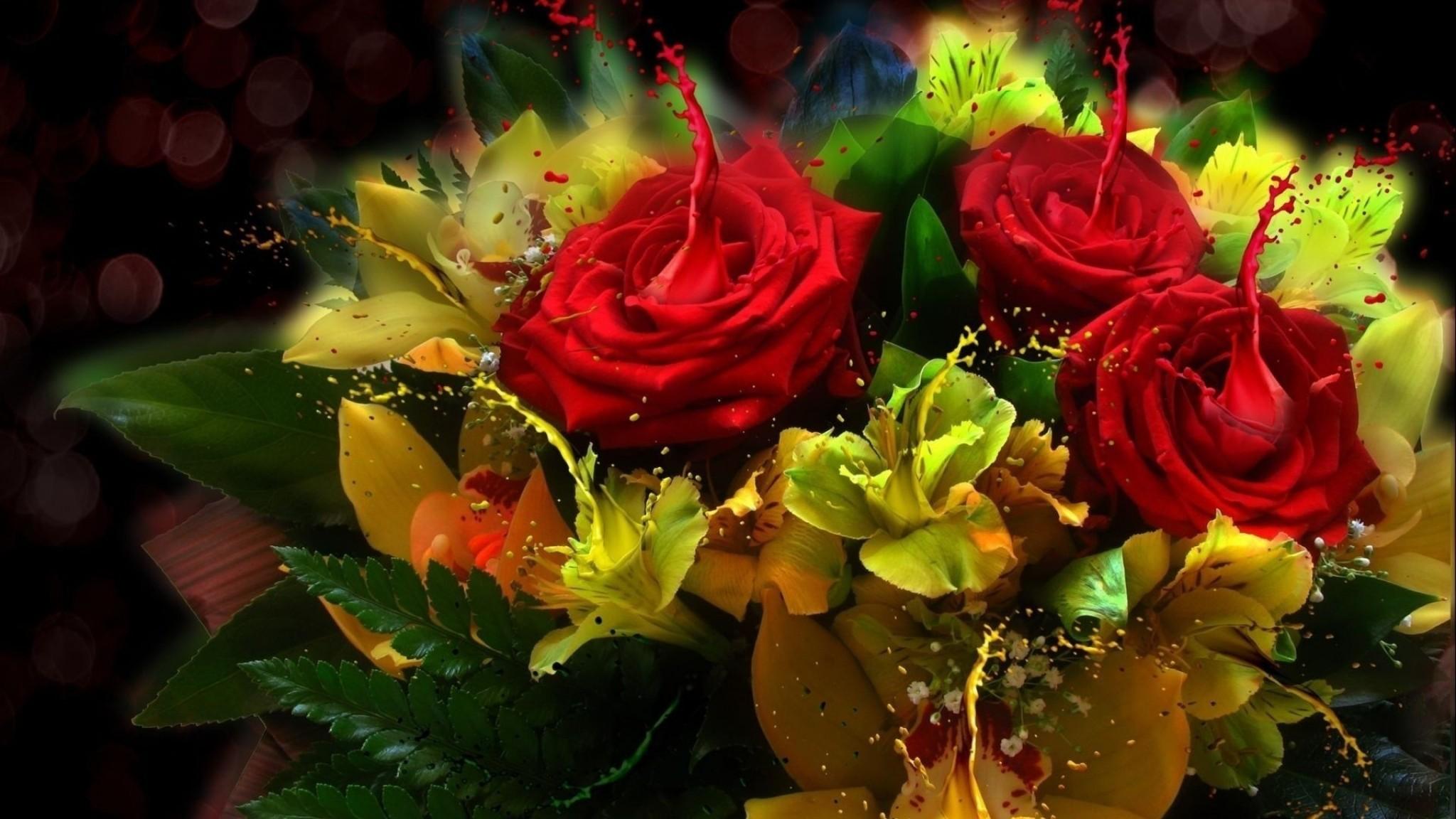 Bouquet  orchid  flowers  rose HD Wallpaper