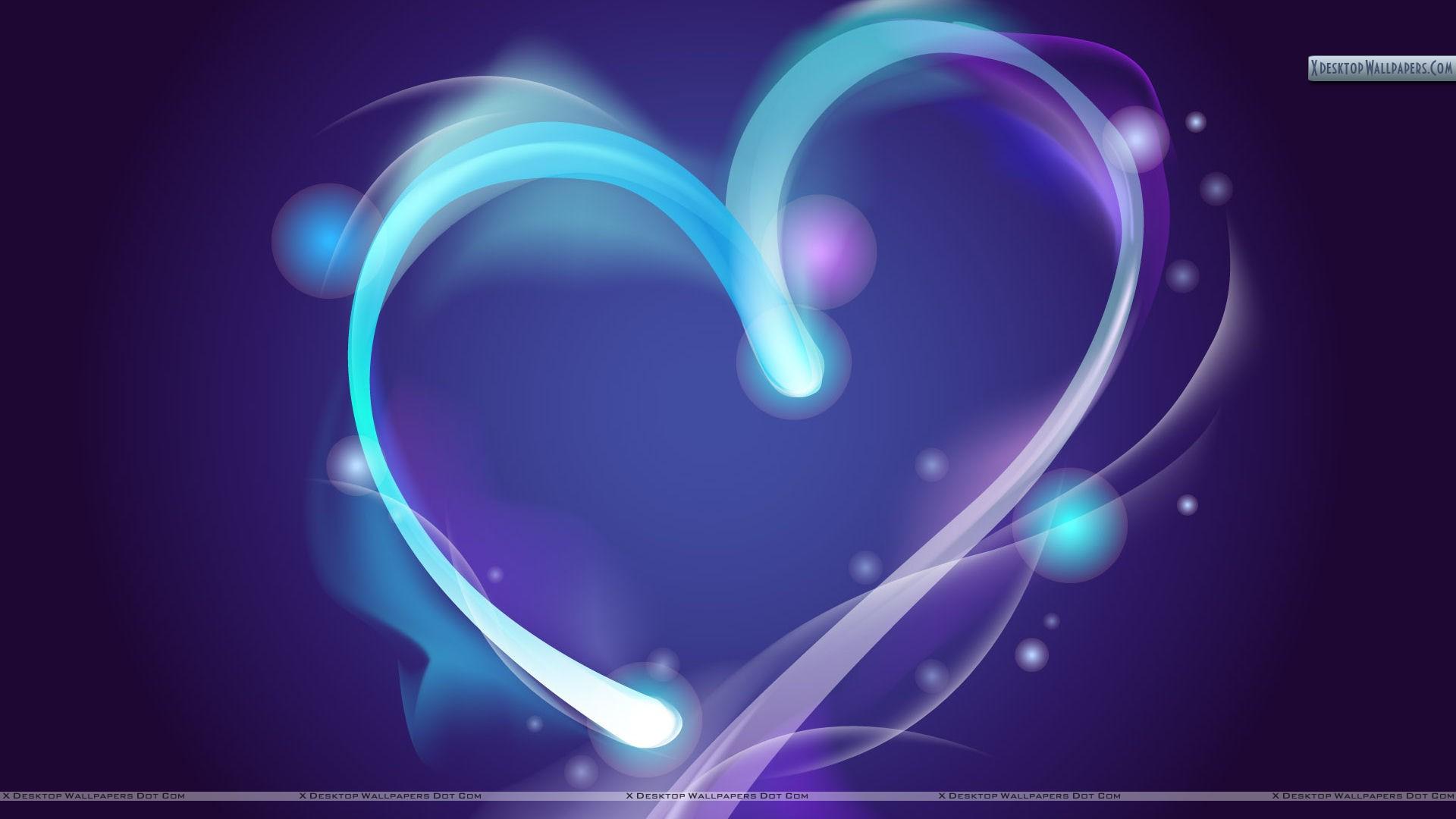 Blue Line Abstract Heart HD Wallpaper