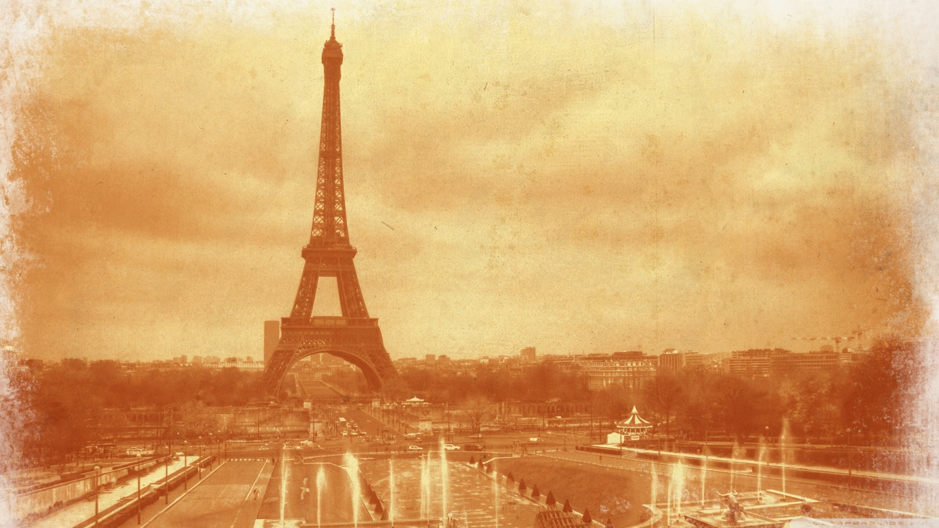 Old Photo Of The Eiffel Tower HD Wallpaper