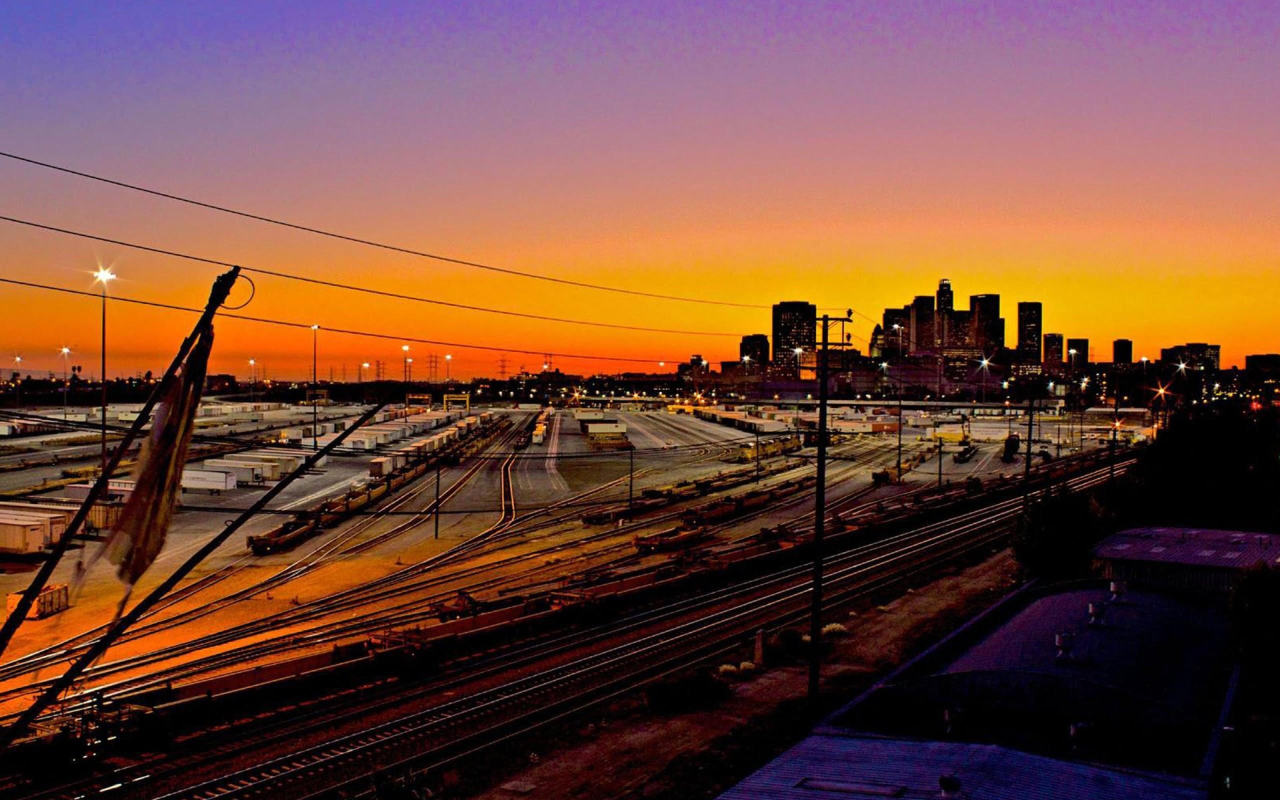 Railroad Yard Los Angeles HD Wallpaper