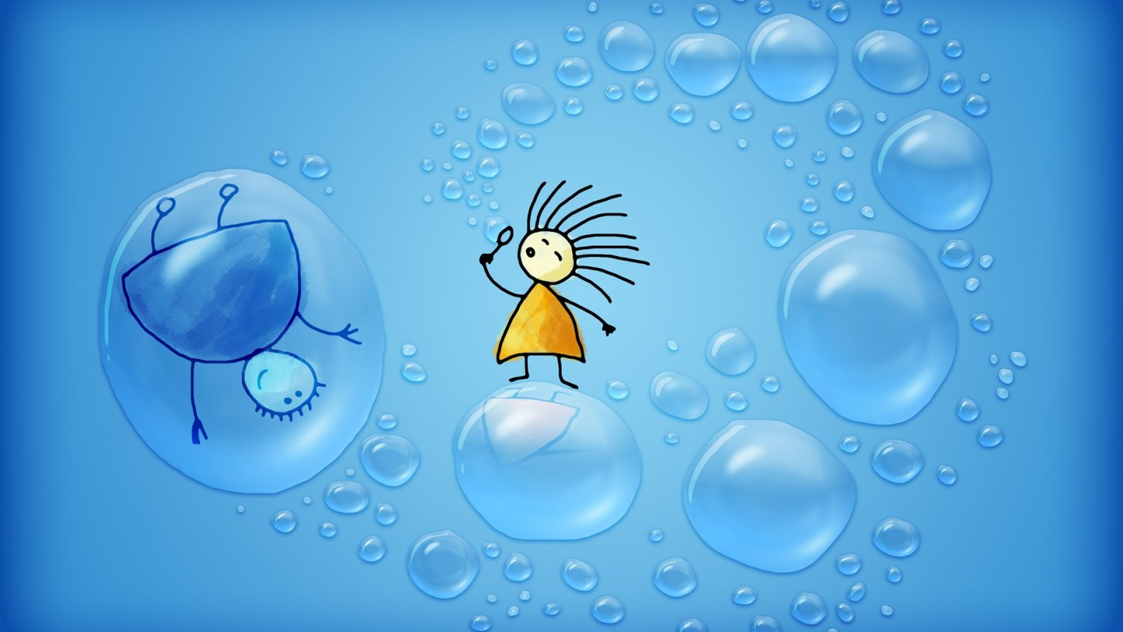 Bubbles  cute animation HD Wallpaper