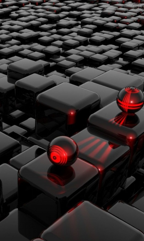 Cube And Balls  Category Abstract  Resolution 480x800  Tags sweet  HD Wallpaper