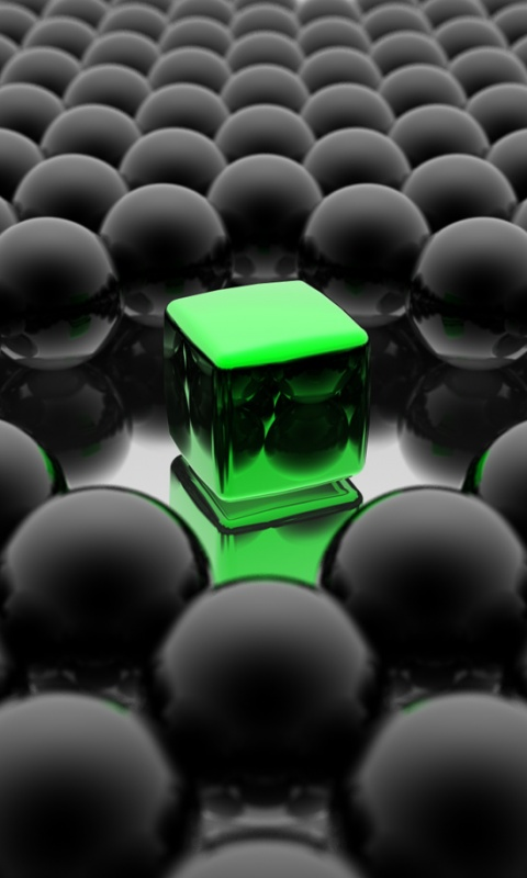 Emerald Cube  Category Abstract  Resolution 480x800  Tags surrealism  HD Wallpaper