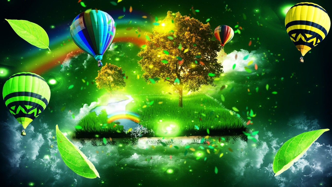 Monde Magique Hot Air Balloon HD Wallpaper