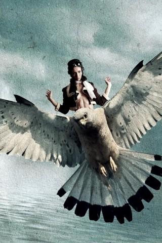 Bird Wings Fly Girl HD Wallpaper
