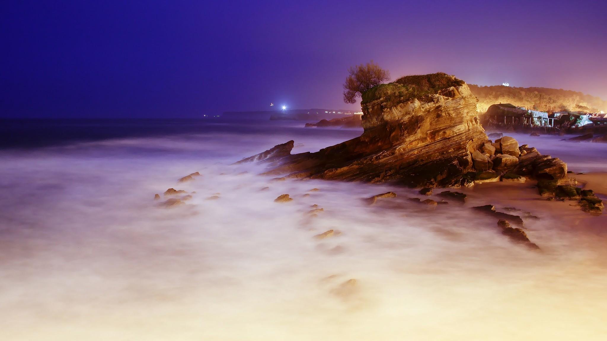 Night  The Sea  Cliffs  HD Wallpaper