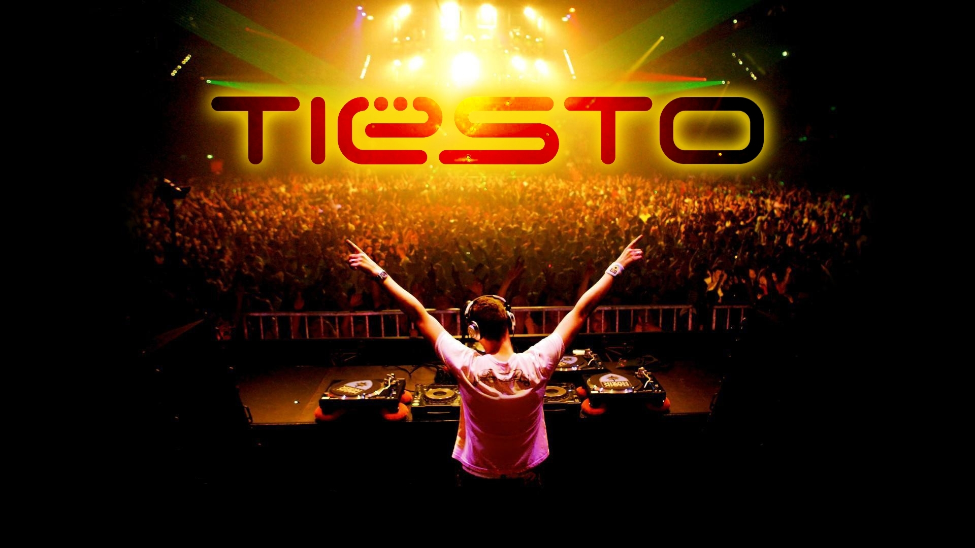 dj tiesto  letters  crowd  HD Wallpaper