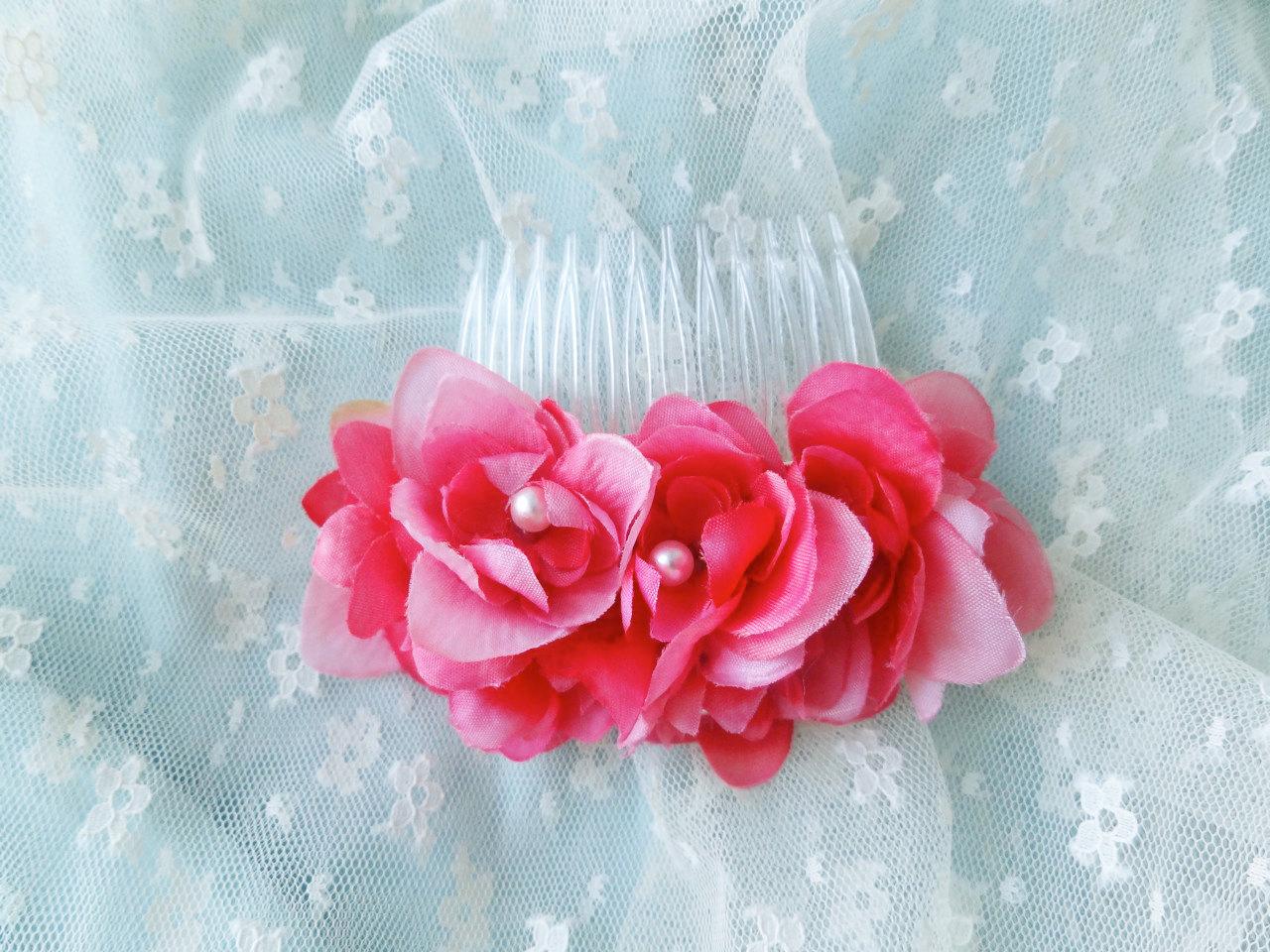 silky fuschia pink flower hair comb  bridal hair accessory  hot pink wedding HD Wallpaper
