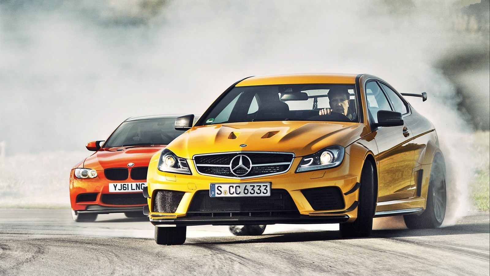 Mercedes Benz C63 Amg Yellow Wallpaper Picture 1600x900