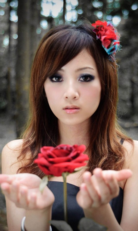 Girl With Red Rose HD Wallpaper