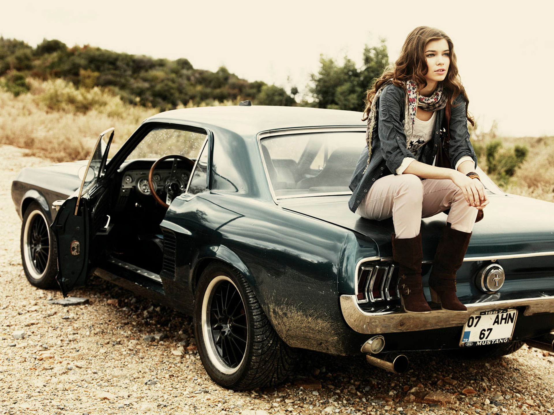 Ford  Mustang  967  Road  Gravel  Vintage  Model  Girl  Brown hair HD Wallpaper