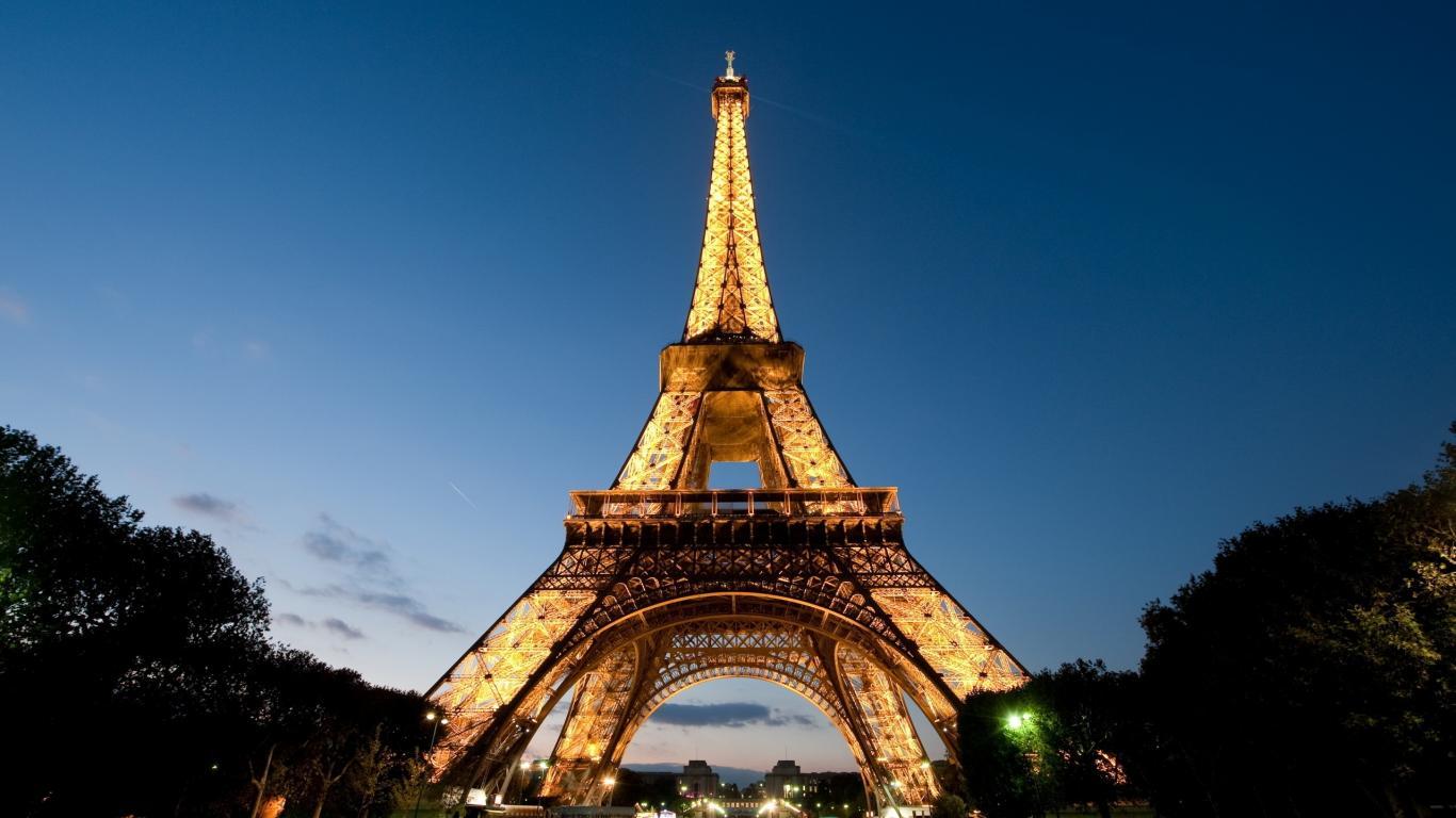Paris Night Eiffel Tower France 1366x768 HD Wallpaper