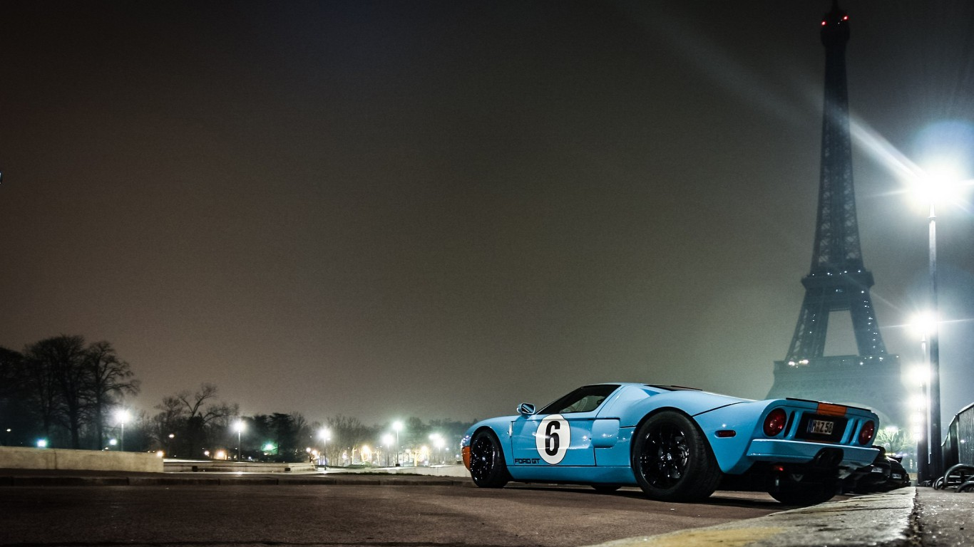 Eiffel tower paris ford gt gt40 low angle shot  HD Wallpaper