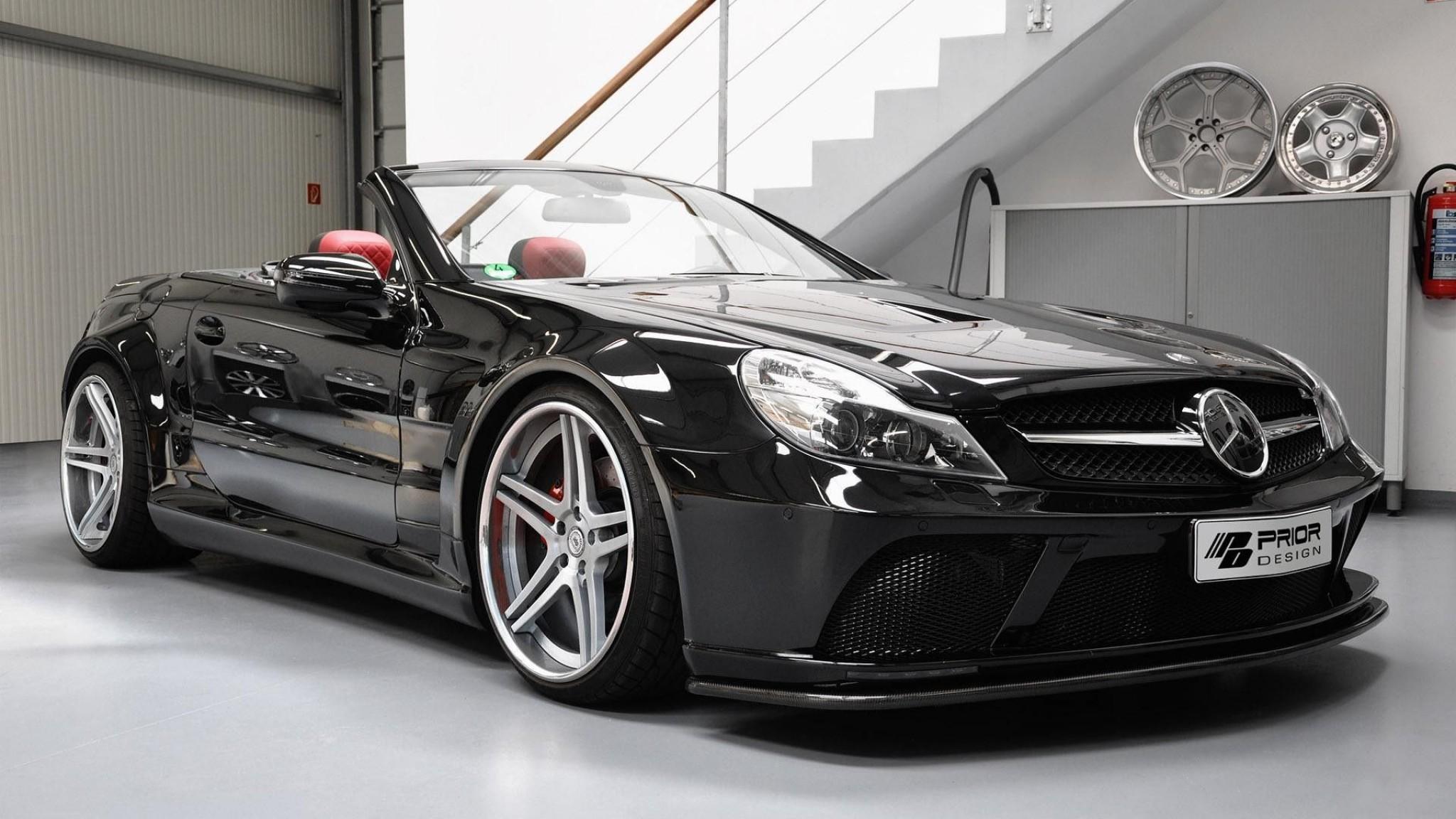 mercedes benz sl  prior  design  convertible  black  coupe  the HD Wallpaper