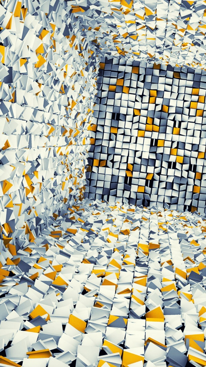 720x1280 White Gray and Yellow 3D Tiles Galaxy s3  HD Wallpaper
