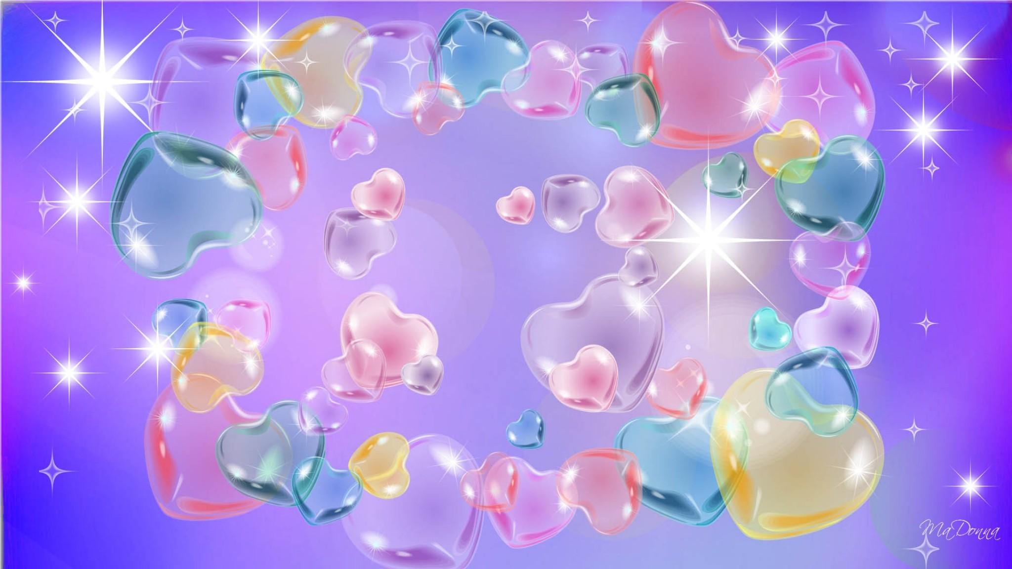 Valentines in Pastel  bright  hearts  pink  purple  stars HD Wallpaper