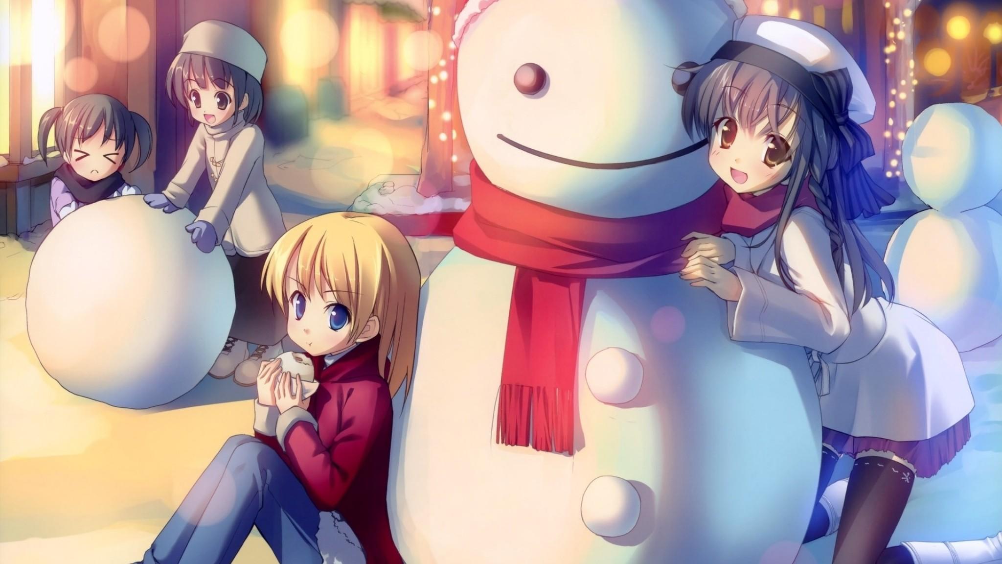 anime  snowman  anime  anime girl  beautiful  snow man   Free HD HD Wallpaper
