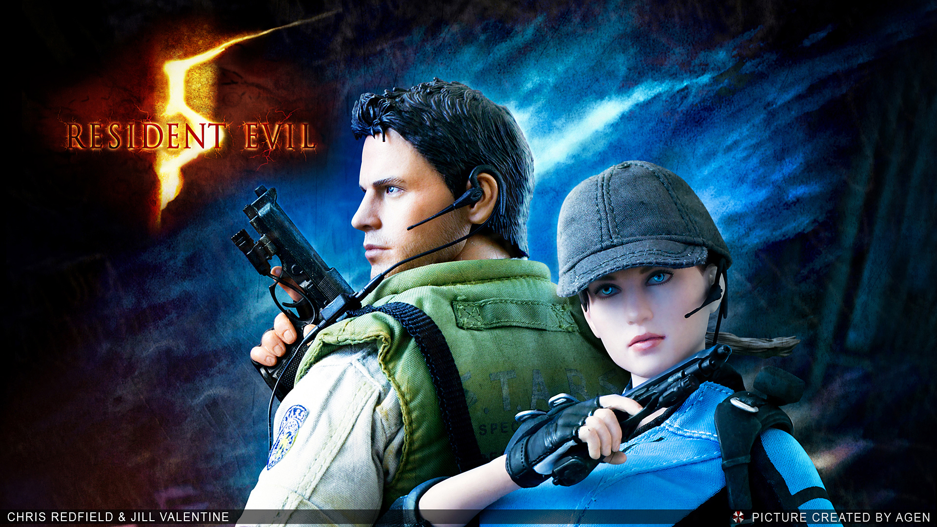 resident evil 5 chris redfield jill valentine  background HD Wallpaper