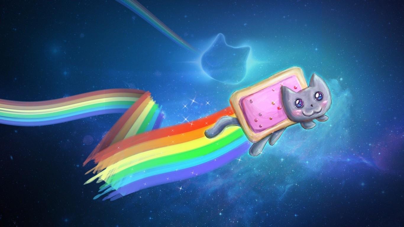 Cute Cat Art Paint Rainbow Colors Unique    img HD Wallpaper