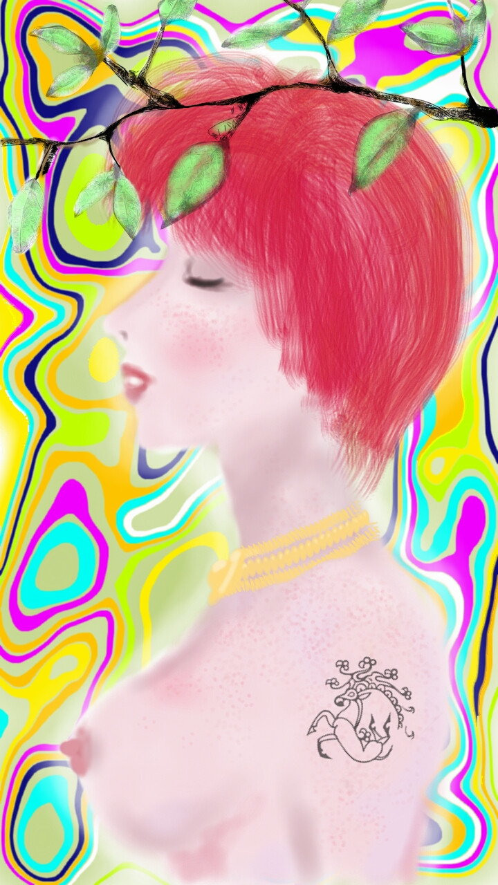 IDAP a tattooed red haired girl with psychedelic background and HD Wallpaper
