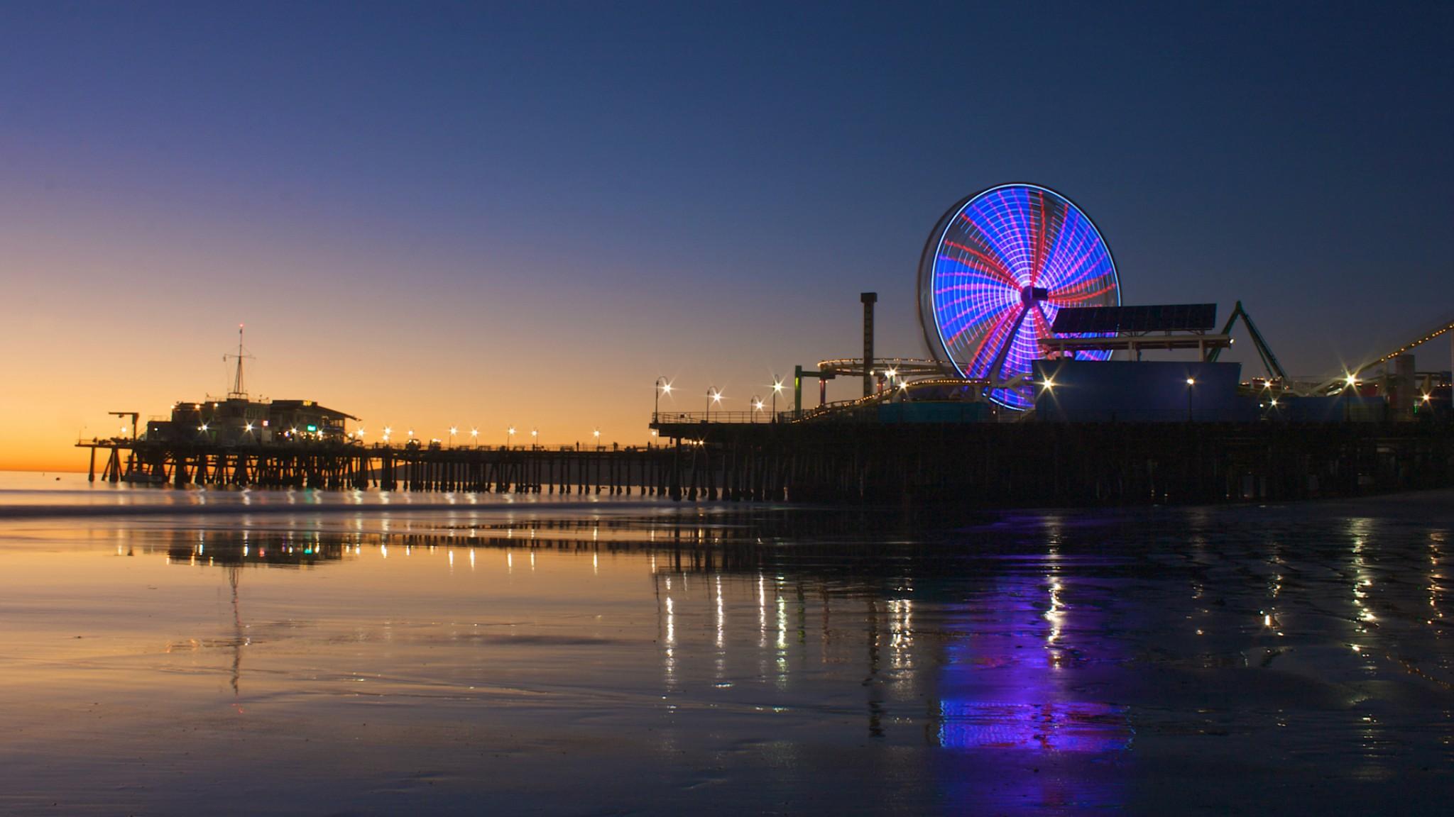 USA  California  Los Angeles  Santa Monica  City  Coast  Ocean HD Wallpaper