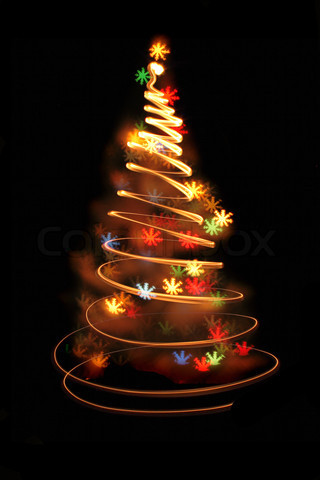 Abstract color christmas tree from the light bulbs stock photo HD Wallpaper
