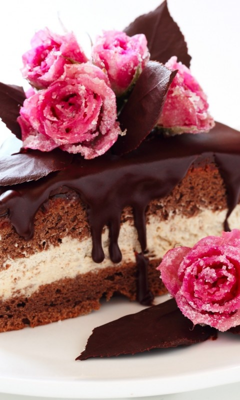 Cake  sweets  pastries  desserts  chocolate  frosting  glaze  rose HD Wallpaper