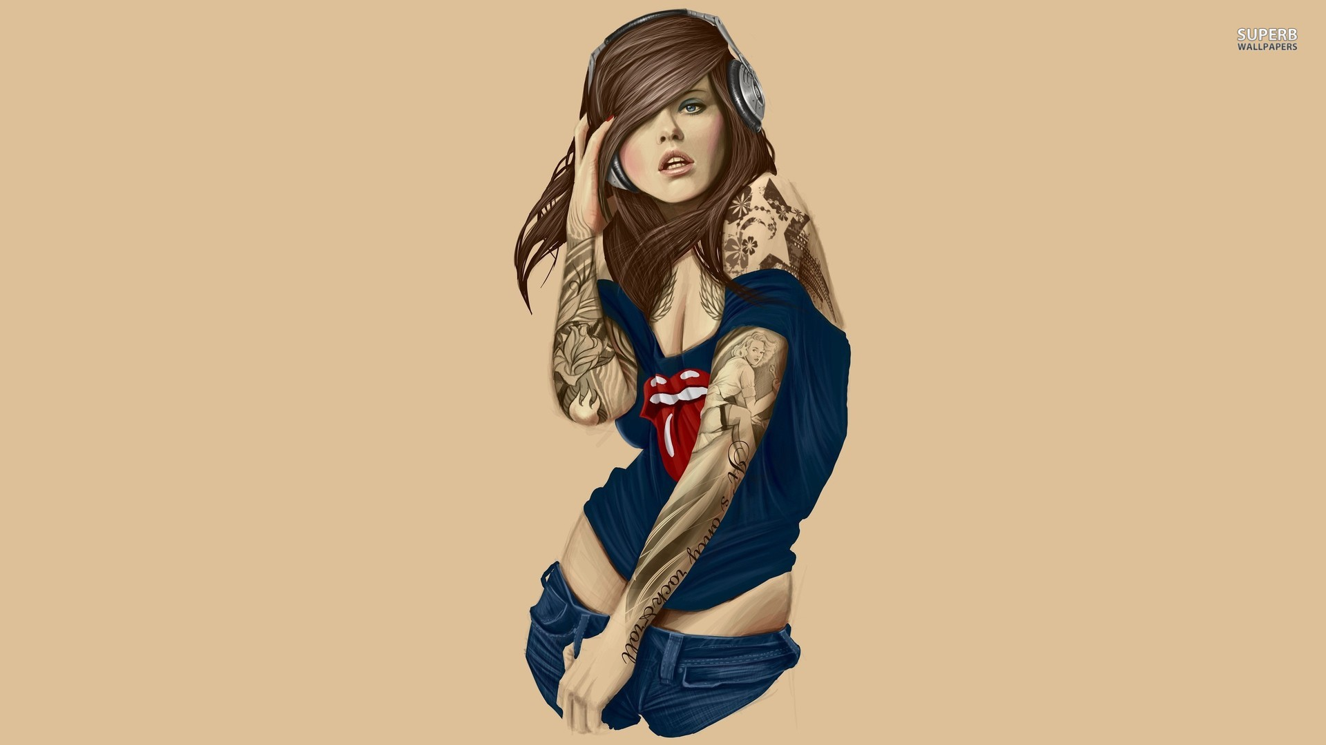 tattooed girl with headphones 17789 1920x1080 HD Wallpaper