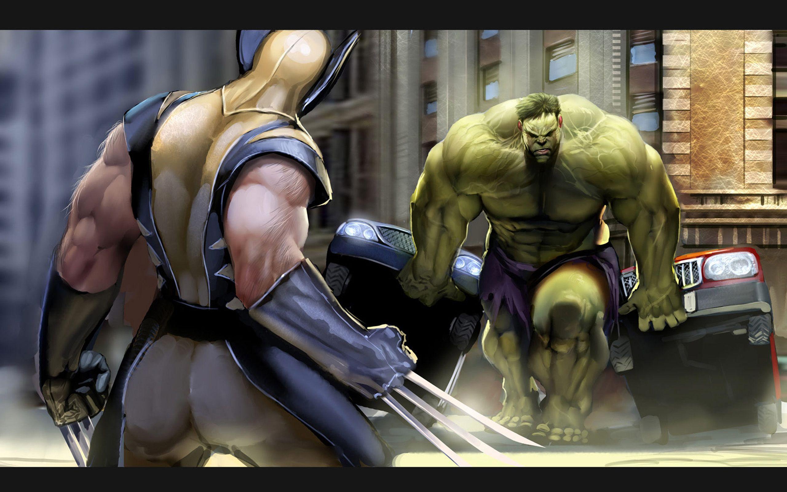Hulk Vs Wolverine City  2560 1600   Free Download Hulk Vs HD Wallpaper
