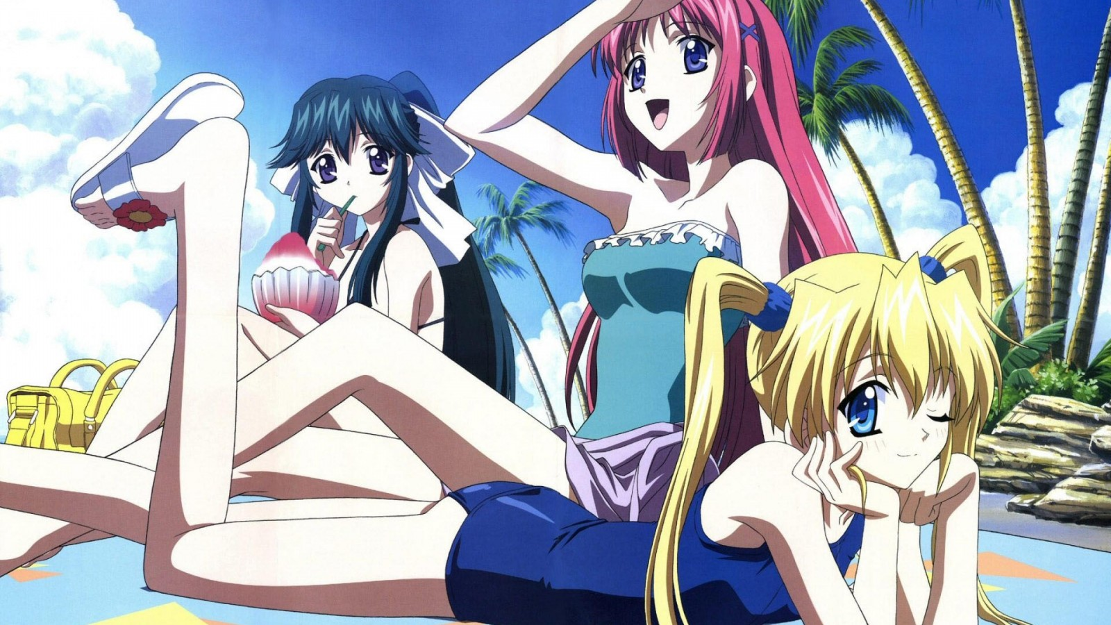 Anime Girl Beach Sunbathing    HD desktop HD Wallpaper
