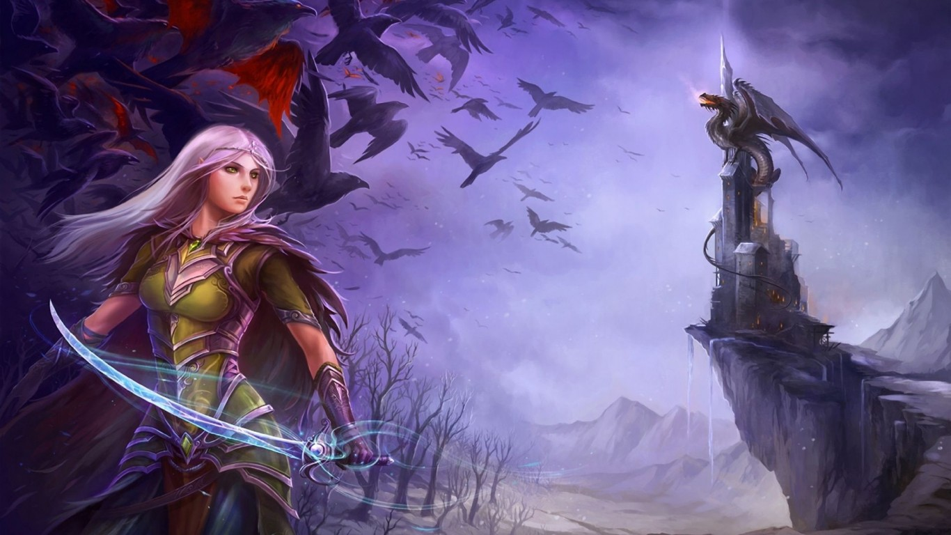 Purple girl holding sword   The  HD Wallpaper