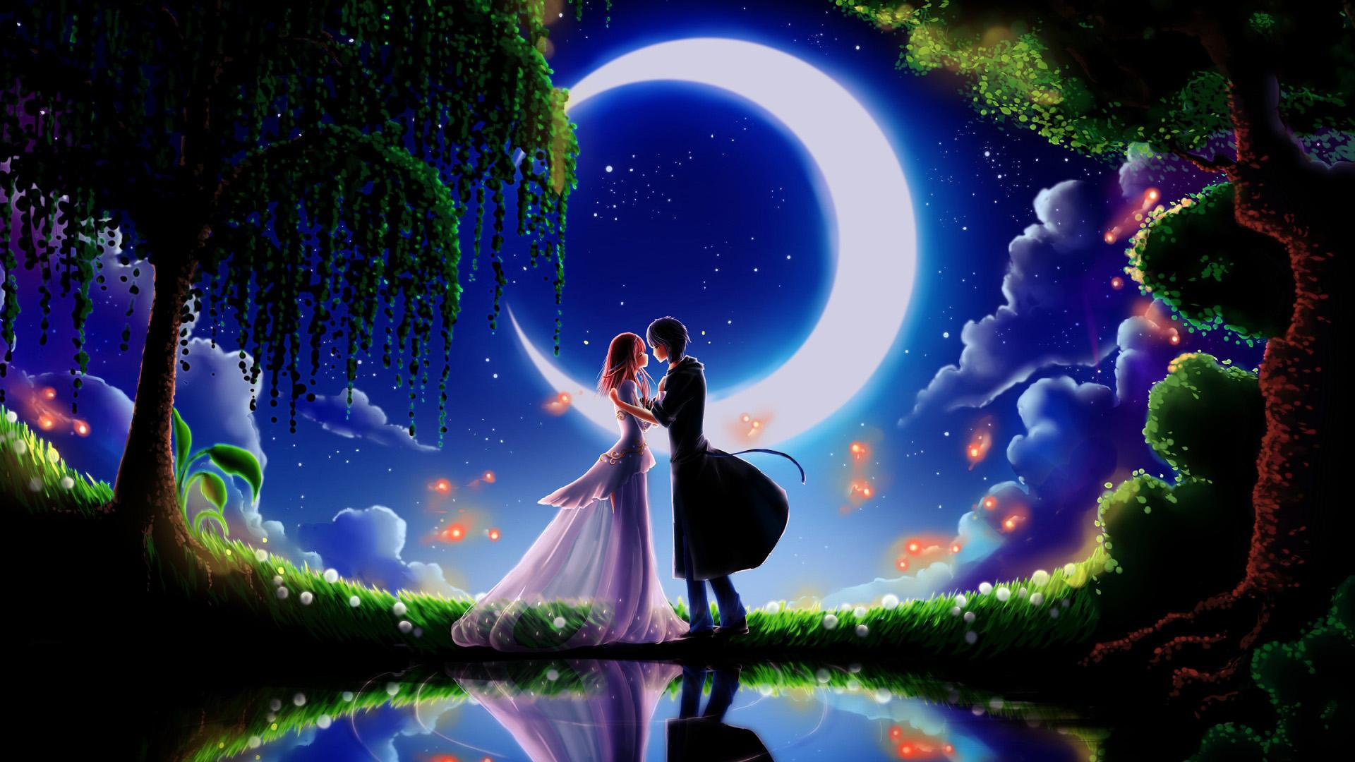 Dream wedding moonlight kiss hd  backgrounds 1920x1080 HD Wallpaper