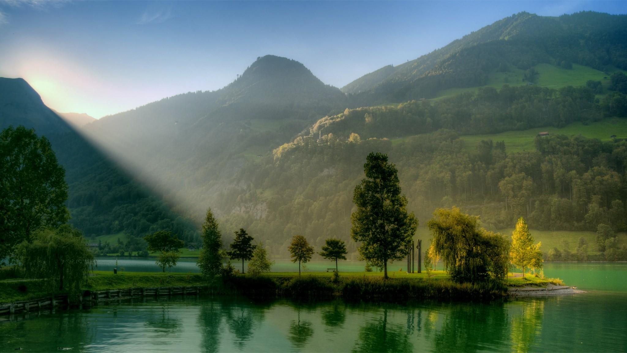 Alba Lago Montagna Natura   HD Sfondi desktop gratis HD Wallpaper
