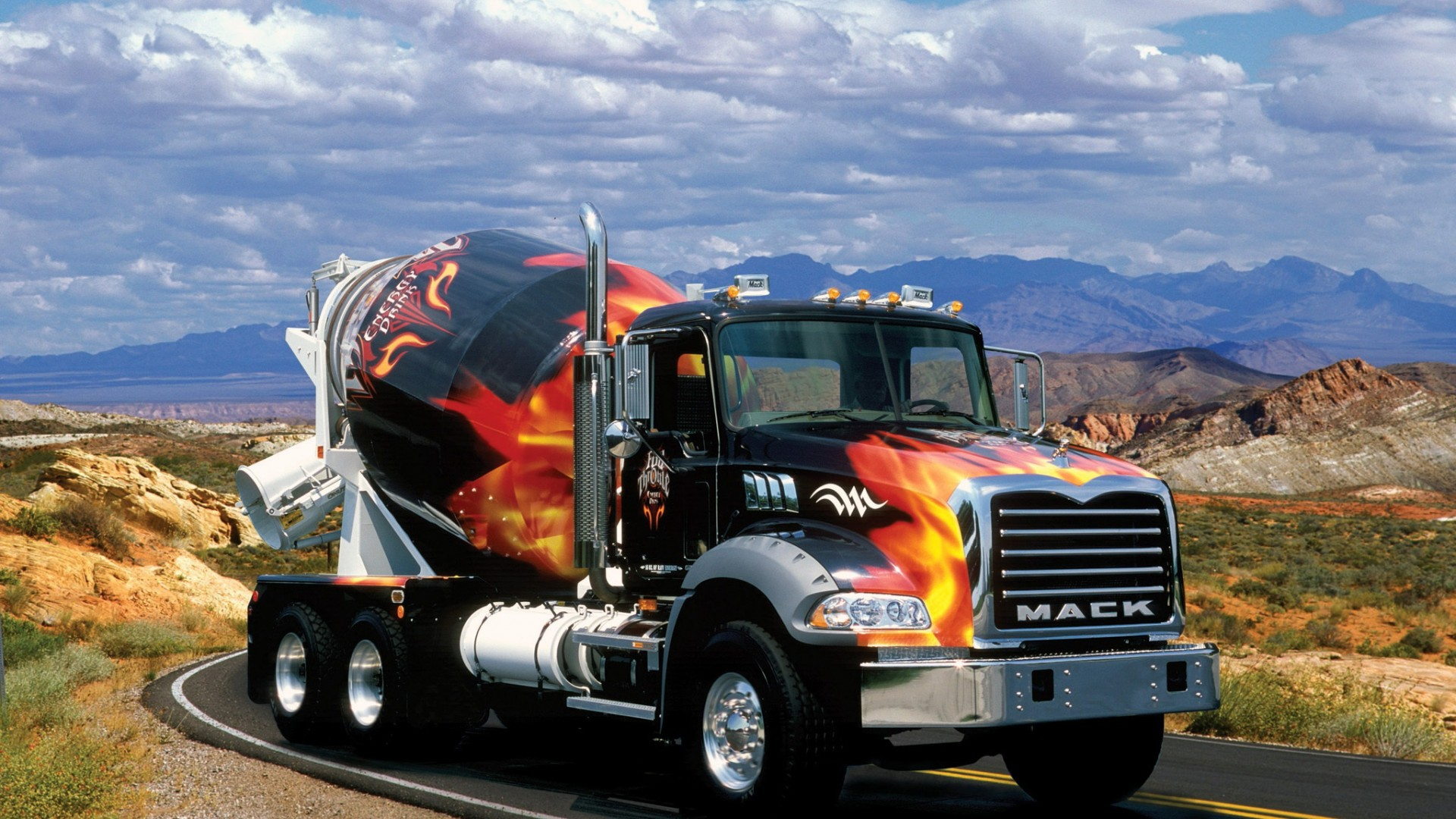 Mixer  mack  truck  clouds  cars   Free HD  HD Wallpaper