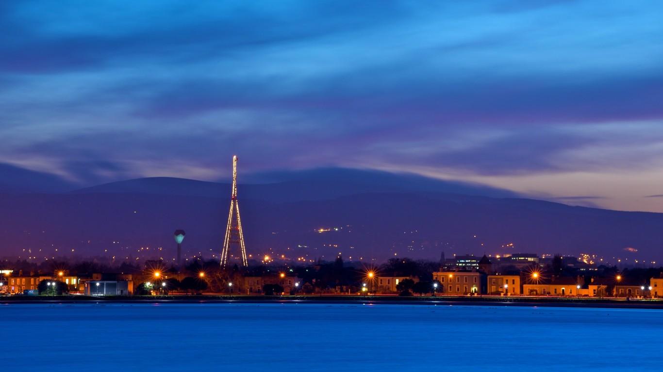 Ireland Dublin Evening Dusk Sky Blue Clouds Mountains Houses HD Wallpaper