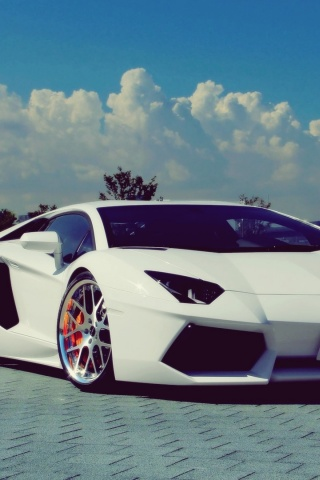 320x480 White Lamborghini Aventador Chrome Rims Iphone 3g  HD Wallpaper