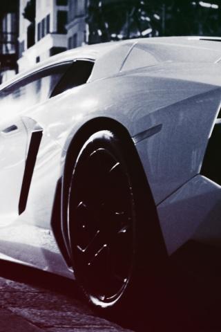 320x480 White Lamborghi Aventador on the Streets Iphone 3g  HD Wallpaper
