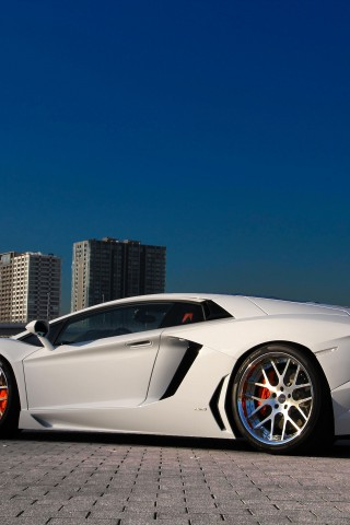 Lamborghini  Aventador  LP700 4  White  Building  Back  HD Wallpaper