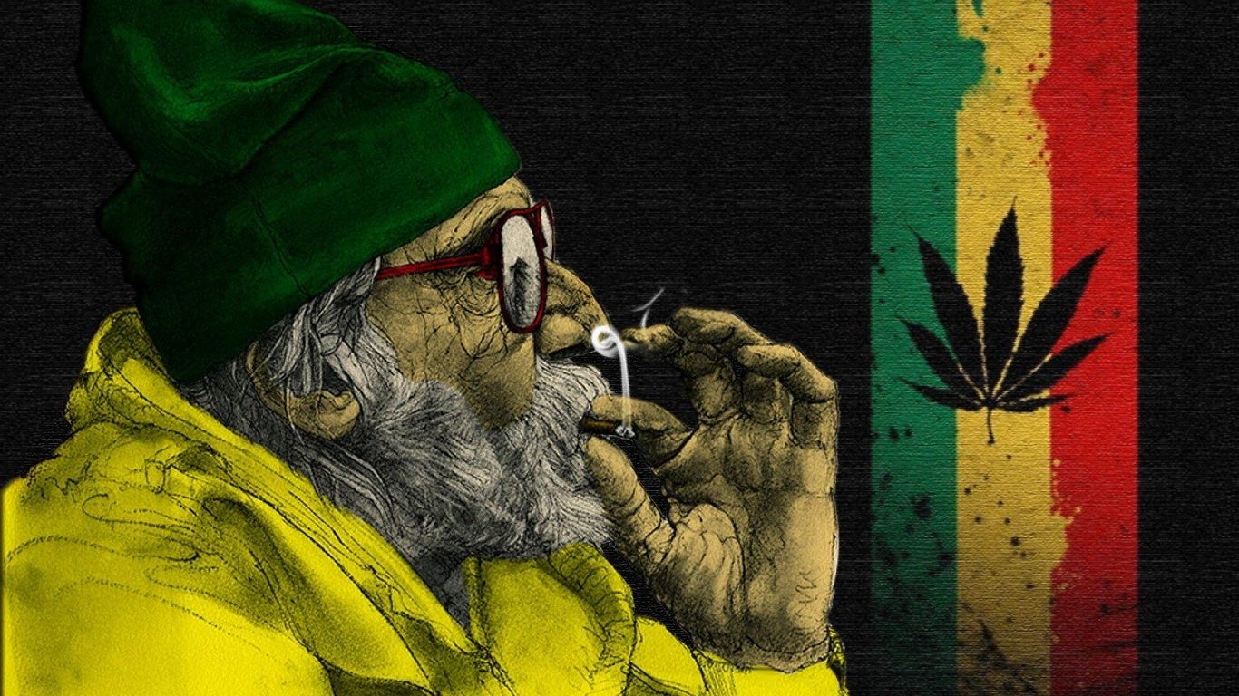 1366x768 Jamaica ganja weed man  HD Wallpaper