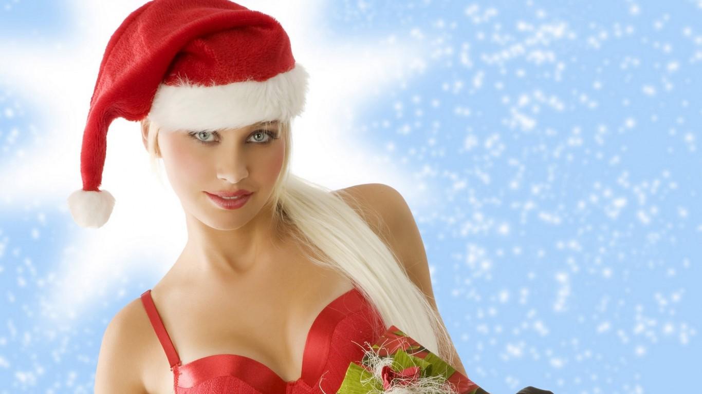 Christmas Red Cap Girls Wide   Desktop    wall  HD Wallpaper