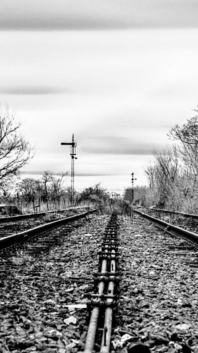Lonf and lonesome tracks  black and white  photography  tracks HD Wallpaper