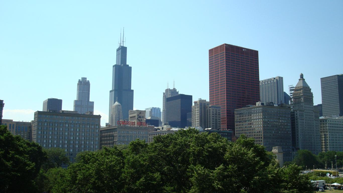 Pin Chicago Skyline Buildings Downtown Illinois 1366x768 121681 HD Wallpaper