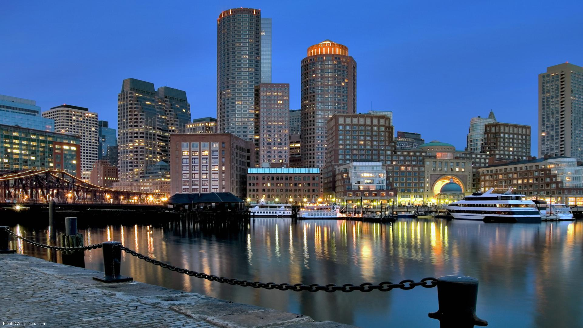 Boston Skyline River    High Quality Collection  HD Wallpaper