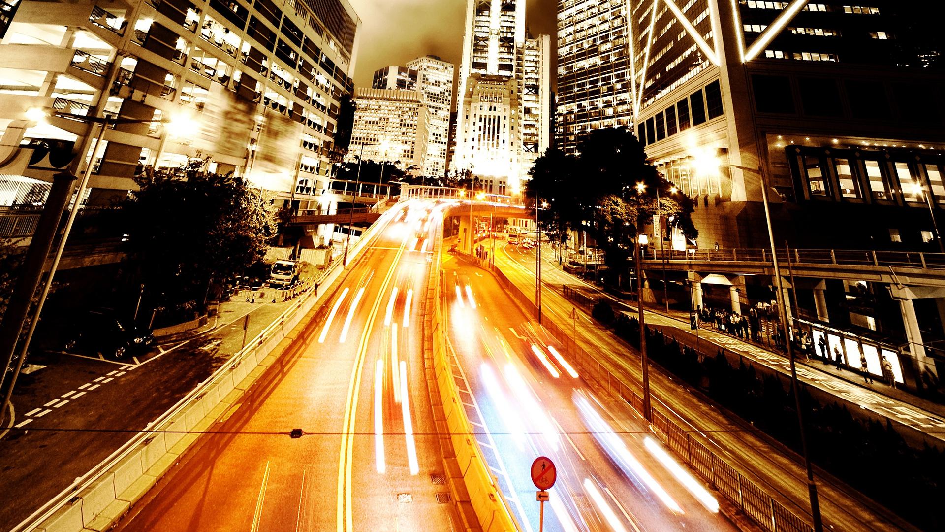 Night Prayer Street Architecture Black City Cool Lights HD Wallpaper