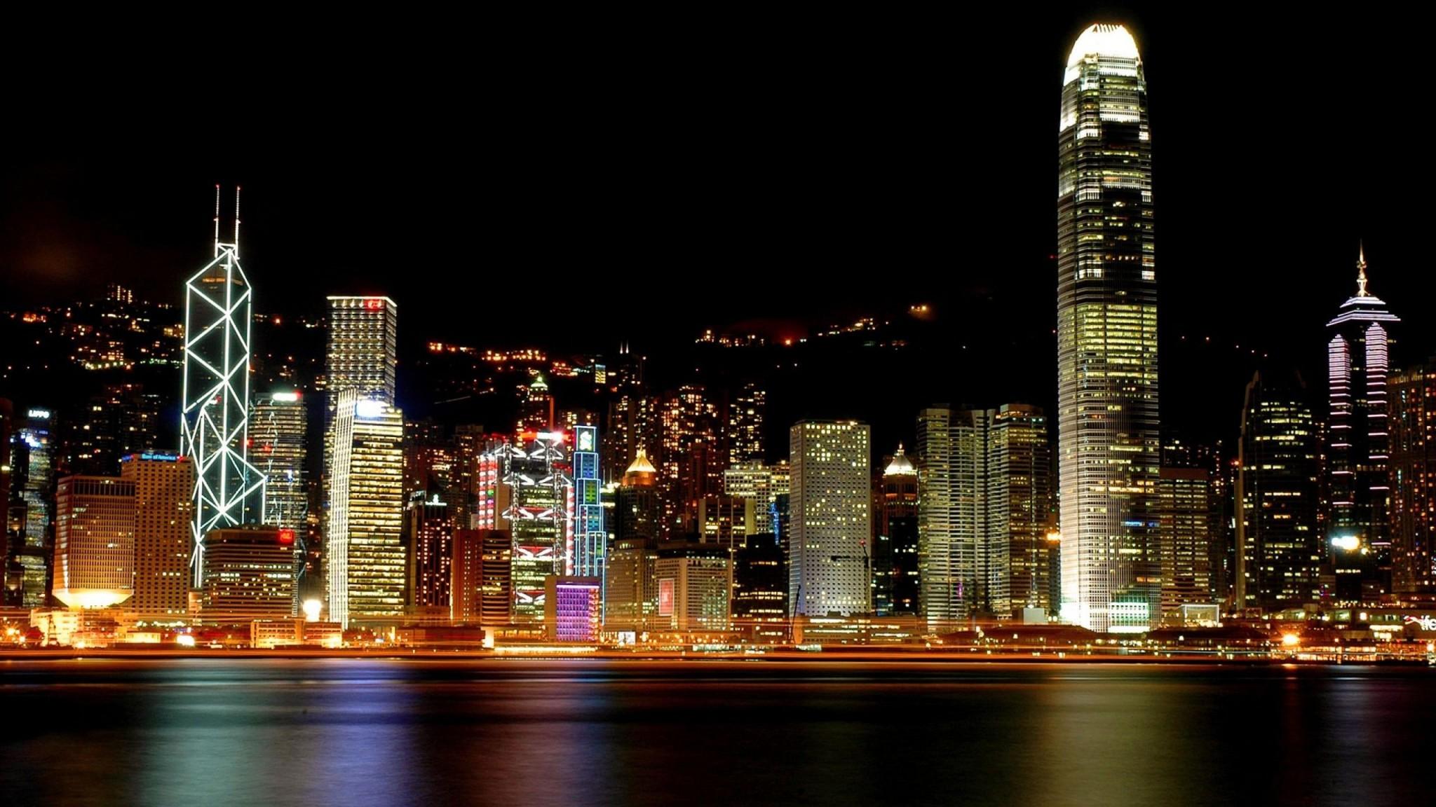 Hong Kong  Architecture  city  colors  cool  night  scene  sea HD Wallpaper