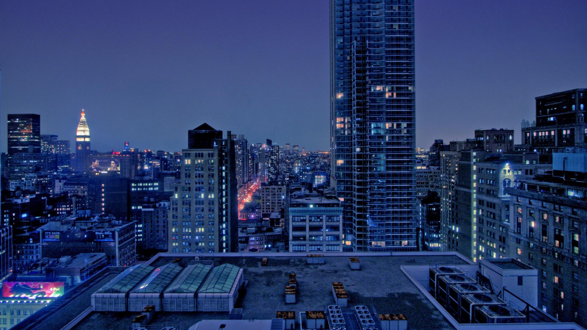 city  skyscrapers  night  manhattan  new york  usa  world   Free HD Wallpaper