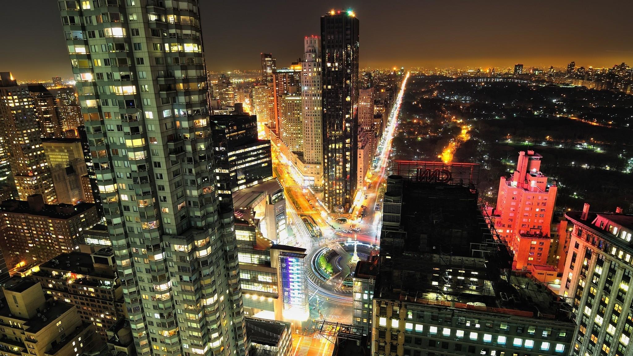 manhattan  central park  new york  night  skyscrapers  street  usa HD Wallpaper