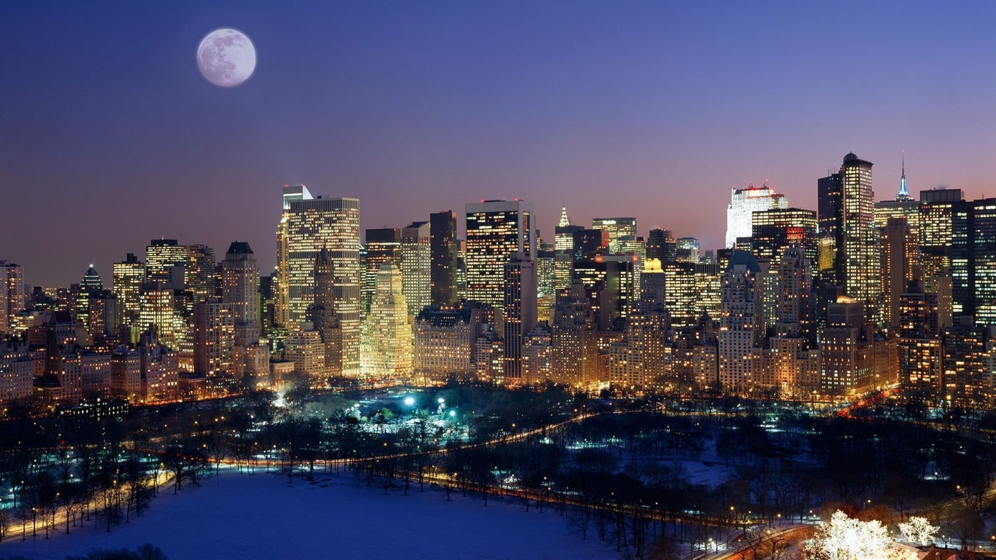 Moonrise Over Manhattan   Top travel lists HD Wallpaper