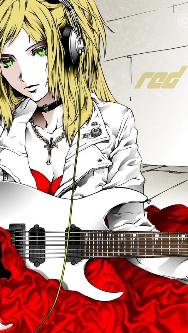 Blond  Guitar  Microphone  Electric Guitar  Dress  Green Eyes HD Wallpaper